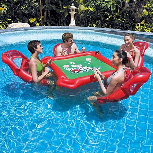 WSGJHB Pool schwimmt für Erwachsene Aufblasbarer Schwimmtisch und 4 Pool Air Lounge Sessel mit wasserdichtem Poker Sommerspielzeug für den Pool, Floaties für Erwachsene -