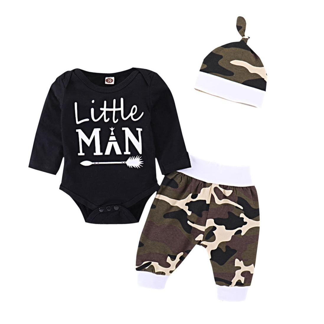 3PCS Newborn Baby Boy Cute Set Romper Tops+Long Pants+Hat Outfits Clothes Handsome Just Like Dad T TALENTBABY Boys Clothing Sets