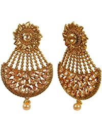 MUCH MORE Brass Made Gold Plated Polki Earrings For Womens