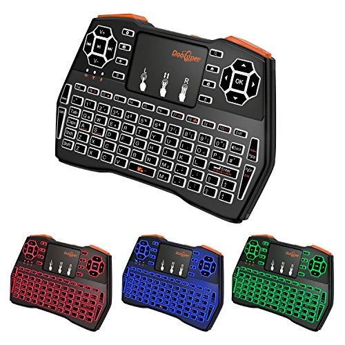 Mini Tastatur Beleuchtet,Dootoper 2.4 GHz Wireless Keyboard/ 10 Meter Reichweite/ 76 Tasten(2 Sondertasten) /geeignet für Smart TV, Android TV Box, HTPC, IPTV, XBOX360, PC, PAD, PS3, Tablets usw. (3 - Wireless Mit Mini Keyboard Hintergrundbeleuchtung