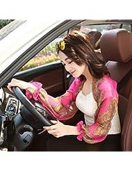 Moolecole Anti-UV Dama Ride Chiffon Impresión Protector Solar Largo Manga Chal Bufandas Rosa Roja