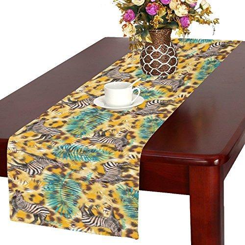 olor Leopard Haut mit Zebra und Palm Leaf Polyester lang Tischläufer 40,6x 182,9cm, Tier Tiger Print Tischdecke Tisch-Sets für Büro Küche Hochzeit Party Home Decor ()