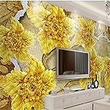 Kuamai Benutzerdefinierte Große Tapete 3D Foto Wandbild Gold Hochwertigen Diamant Blume Schmuck 3D Wallpaper Wandbild Papel De Parede-350X250Cm