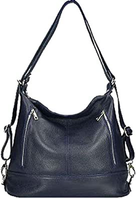 Bottega Carele Borsa a spalla trasformabile in Zaino in vera pelle BC7170. Made in Italy