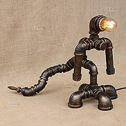Modeen Retro Industrial Vintage tiranosaurio rex lámpara de escritorio de hierro forjado de tuberías de agua lámpara de mesa dormitorio sala lámpara de cabecera clásico de bronce LOFT luz de la mesa de luz de mesa