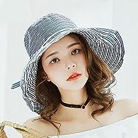LTQ&qing Sombrero protector solar al aire libre rayado del sombrero del sol de la Sra. Nueva sombrero de la manera , A , m (56-58cm)