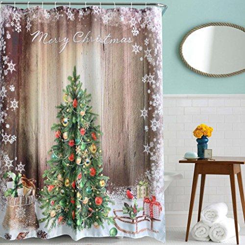 tefamore-noel-denfants-polyester-impermeable-salle-de-bain-decor-rideaux-avec-crochets-multicolore-2