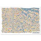Amsterdam Poster (70x50cm) - Stadtplan Plakat Kunstdruck bunt querformat mit den Sehenswürdigkeiten Grachten, Amsterdam Centraal, die Oude Kerk, das Rijksmuseum & den Vondelpark
