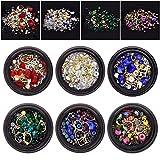 6 botes de diamantes de imitación para uñas, cuentas, cristales, gemas, mezclados para manualidades, accesorios decoración, de JuanYa