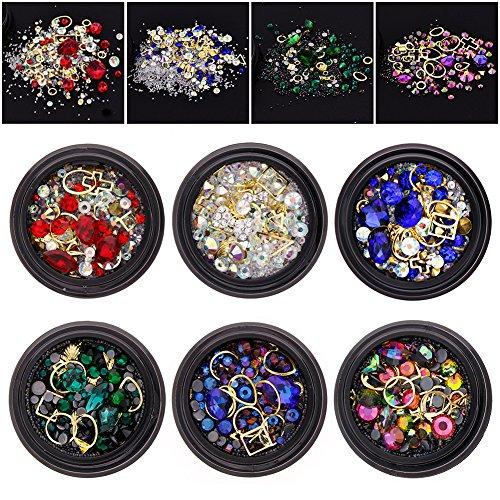 JuanYa 6 pots de pièces de strass, de perles en diamant, de cristaux, de pierres précieuses mixtes pour ongles - À faire soi-même -Décorations d'accessoires (02#)
