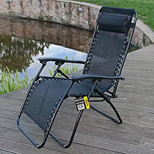 black reclining garden sun lounger with armrest headrest. Black Bedroom Furniture Sets. Home Design Ideas