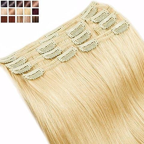 S-noilite® Extensions Cheveux Naturels à Clips Blond Très Clair 8 Bandes - MAXI VOLUME Double Weft Remy Hair (25cm-110g, #613)