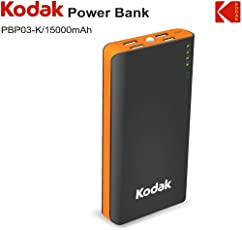 Kodak PBP03-K/15000mAh Power Bank (Lithium -ion) (Black & Orange)