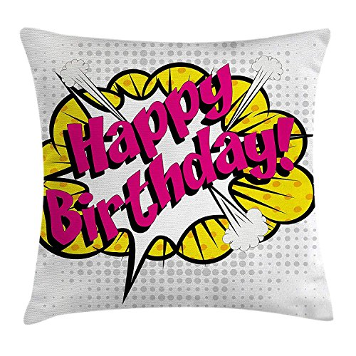 GONIESA Birthday Decorations Throw Pillow Cushion Cover Pop Art Comic Book Style Design Lettering Explosion Blast Effect Dots, Decorative Square Accent Pillow Case, 12x12 Inch/30cmx30cm, Multicolor -
