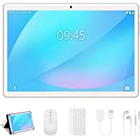 Tablet 10 Pollici YESTEL 4GB RAM 64GB ROM +Espanso 128GB con Schermo IPS HD Quad Core Tablets Dual LTE SIM con WIFI | 8000mAh | Bluetooth | GPS | con Tastiera e Mouse – Argento