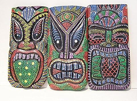 Lot de 4Tiki Dot Autochtones en bois peint Décoration murale