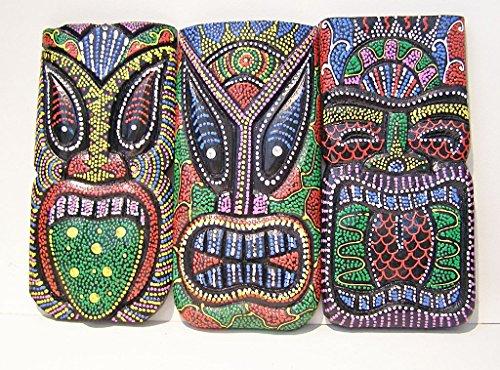 Juego-de-4-puntos-aborigen-Tiki-de-madera-pintada-colgar-en-la-pared-placas-comercio-justo-20-cm-de-altura