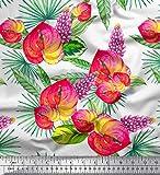 Soimoi Weiß Samt Stoff Blätter, laceleaf & Lupine Blumen-