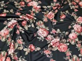 Floral Print Scuba Stretch Jersey Knit Kleid Stoff Rose