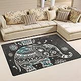 JSTEL ingbags Super Weich Modern Vintage indischen Lotus Ethnic Elefant afrikanischen, ein Wohnzimmer Teppiche Teppich Schlafzimmer Teppich für Kinder Play massiv Home Decorator Boden Teppich und Teppiche 152,4x 99,1cm