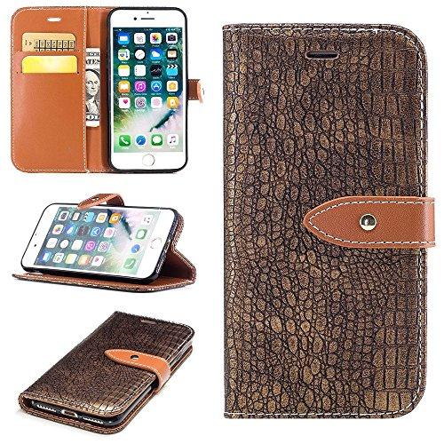 """MOONCASE iPhone 7/iPhone 8 Coque, Flexible Flip Cuir Protection Étuis à Rabat avec Béquille Case Built-in Card Slots portefeuille Housse pour iPhone 7/iPhone 8 4.7"""" D'or D'or"""