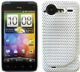 Befestigungsarm: Lochgitter Netz Flexible Schutzhülle für HTC Incredible S inklusive Displayschutzfolie - Weiß
