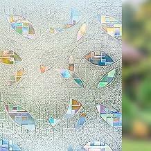 Rabbitgoo® Sin cola 3D Vinilo Pegatina Translúcida Adhesiva Decorativa del Vidrio de Ventana Autoadhesiva con Electricida Estática para el Cristal de Ventanal de Baño Cocina Oficina Control de Calor y Anti UV 60*200cm