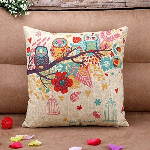 Búho Funda de almohada, 2piezas algodón lino cuadrado manta decorativa Funda de almohada Funda para cojín diseño de búhos con Birdcage 18* 18pulgadas (2pcs, búhos con Birdcage)