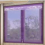Fliegengitter Für Fenster,Moskito-Fliegengitter-Klett-Komfort Für Easy-On Und Easy-Off-Insektenschutz, Lila,140*150Cm