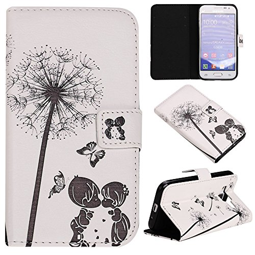 Étui en cuir pour iPhone 5/5S se, w-pigcase coloré Étui en cuir PU avec exquis design raffiné et confortable feelling pour Apple iPhone 5/5S/5C/SE, Wind chime, Samsung Galaxy J1 Ace kiss