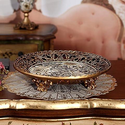 YUENLONG Plato de frutas Continental grabado antiguo barril de color rosa tallada resina fruta redonda en 0 hogar comida y refrescos tuercas Candy Fruit cake cuenca bronce fruto redondo 31cm de diámetro de la