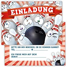 12 Lustige Einladungskarten Im Set Für Kindergeburtstag Bowling Party Für  Jungen Mädchen Kinder Kegeln Partyspiele Karten