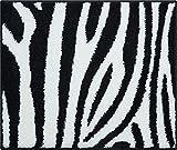 Linea Due Badteppich 100% Polyacryl, Ultra Soft, Rutschfest, Öko-Tex-Zertifiziert, 5 Jahre Garantie, Zebra, WC-Vorlage o.A. 50x60 cm, Schwarz-Weiss