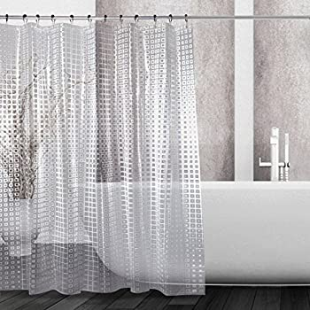 Tatkraft Waterfall Clear Shower Curtain - Waterproof and Mildew ...