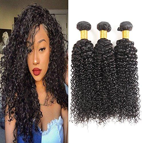 Huarisi Brasilianisches lockiges menschliches Haar Verlängerungen Webarten 3 Bündel 100% Curly Human Hair 7a unverarbeitetes Jungfrau Haar 22 24 26 zoll (Menschliches Verlängerung Lockig Haar)