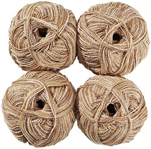 2x beige, 2x natur - A-01//H291 75 /% Schurwolle CRELANDO/® 4x Socken-Strickgarn Anika /à 50g