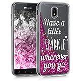 kwmobile Hülle für Samsung Galaxy J5 (2017) DUOS - TPU Silikon Backcover Case Handy Schutzhülle - Cover klar Schneekugel Sparkle Design Silber Pink Transparent