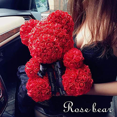 ANLW Forever Rose Teddy Bear Valentine Valentine Day Gift Doll Faux Blumenschlihe Girlfriend Jubiläum Geschenk,Red