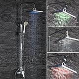 Homelody RGB Duschset eckig Duscharmatur mit LED Regendusche Duschsystem Handbrause und Überkopfbrause Duschpaneel Dusche