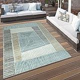 Paco Home in- & Outdoor Terrassen Teppich Geometrisches Design Pastell Braun Beige Grau, Grösse:80x150 cm