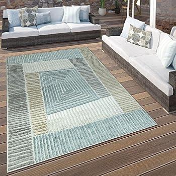0496e3505ebb06 Paco Home In- & Outdoor Terrassen Teppich Geometrisches Design Pastell  Braun Beige Grau, Grösse:80x150 cm