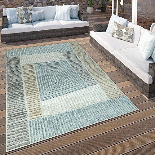 Paco Home In- & Outdoor Terrassen Teppich Geometrisches Design Pastell Braun Beige Grau, Grösse:80x150 cm (Braun Outdoor-teppich)