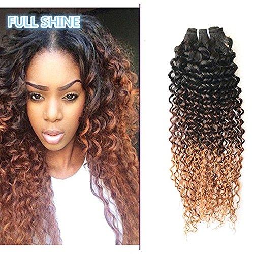 Full Shine 16 pouces Cheveux Trame dans les Extensions de Cheveux Humains Remy Cheveux pleine tête faisceaux de Cheveux Ombre Couleur # 1B/4/30 crépus bouclés Cheveux Remy 100g par paquet