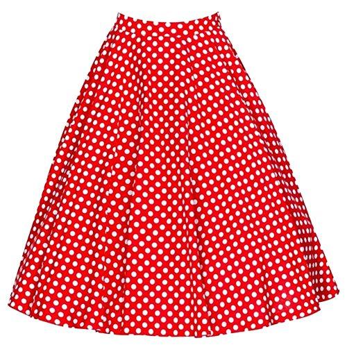 YiLianDa Damen Rock Plissee Vintage Röcke Rockabilly Polka Dots Sommerrock Strand Rock Rot L
