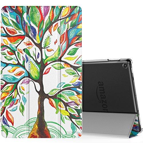 MoKo Hülle Fire HD 10 2017 Tablet - Ultra Slim Lightweight Schutzhülle Smart Cover Case mit Auto Wake/Sleep & Translucent Rückseit für All-New Amazon Fire HD 10,1 Zoll Tablet, Glück Baum