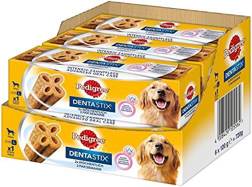 Pedigree DentaStix Advance 2x Wöchentlich Hundeleckerli für große Hunde +25kg, Kausnack mit Huhn- und Rindgeschmack gegen Zahnsteinbildung, 6 Stück (6 x 120g)