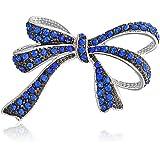 Bling Jewelry Moda da Sposa Romantico Vintage Stile Royal Blue Chiaro Nastro di Cristallo brocca Spilla Pin per Le Donne dier