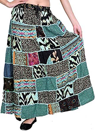 Exotic India Long Printed Dori Skirt from Gujarat with Patch Work - Color Blue TintGarment Size Free Size
