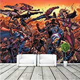 Cartoon Avengers Photo Wallpaper Movie Wall Mural Marvel Comics Wallpaper Super Hero Room Decor Large Wall Art Kid Room Bedroom Largeur350cm - Hauteur250cm un