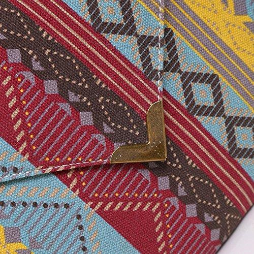 Amazingdeal365 Colore Nuove Donne Busta Frizione Borsa Tote Bag Signore Ricamato (Rosa Rossa) Fucsia